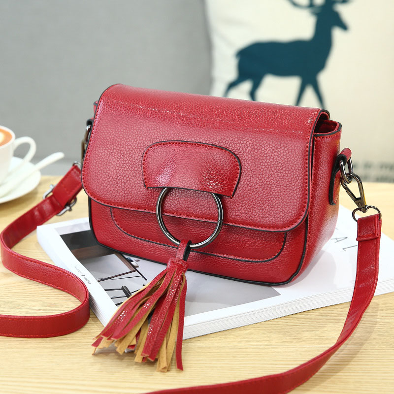 <font><b>REREKAXI</b></font> Fashion PU Women's Shoulder Bag Tassel Lady's Messenger Bags Waterproof Crossbody Bag For Women Flap Handbag image