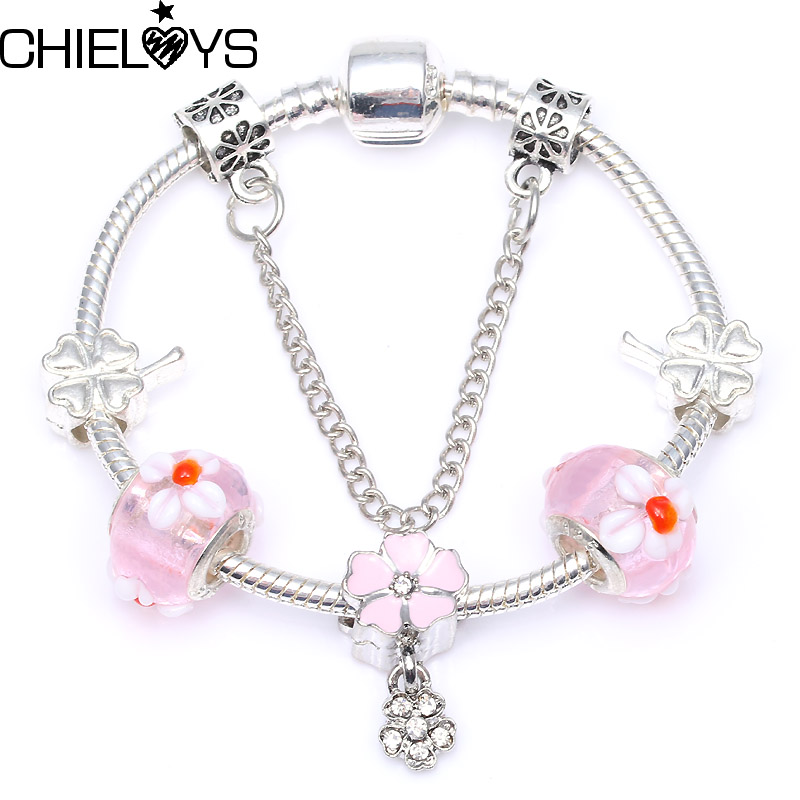 CHIELOYS Pink Flower Crystal Beads Charm Bracelet Fit Silver Plated Snake Chain DIY Pandora Bracelet For Women Jewelry Gift