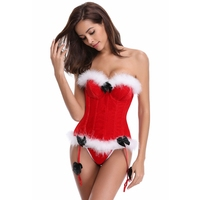 White Fur Trimmed Dancewear Halloween Costumes Body Shaper Sexy Red Christmas Corsets and Bustiers with Underwire Cup Fashion