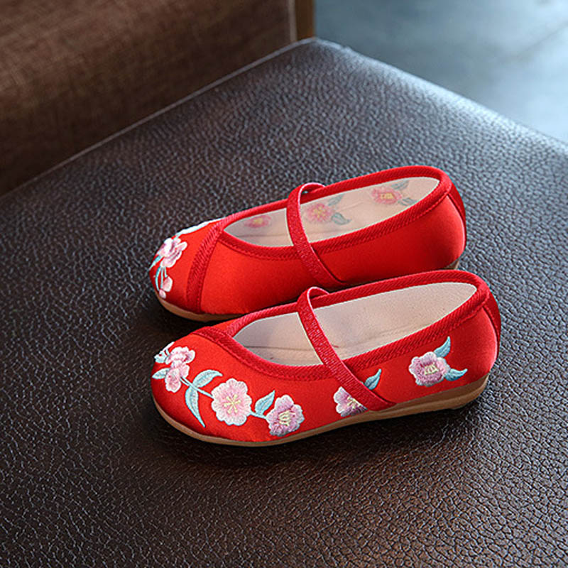 Kids Casual Cloth Shoes Sneakers for Toddler Girls Boys with Handmade Floral Embroidery FJ88
