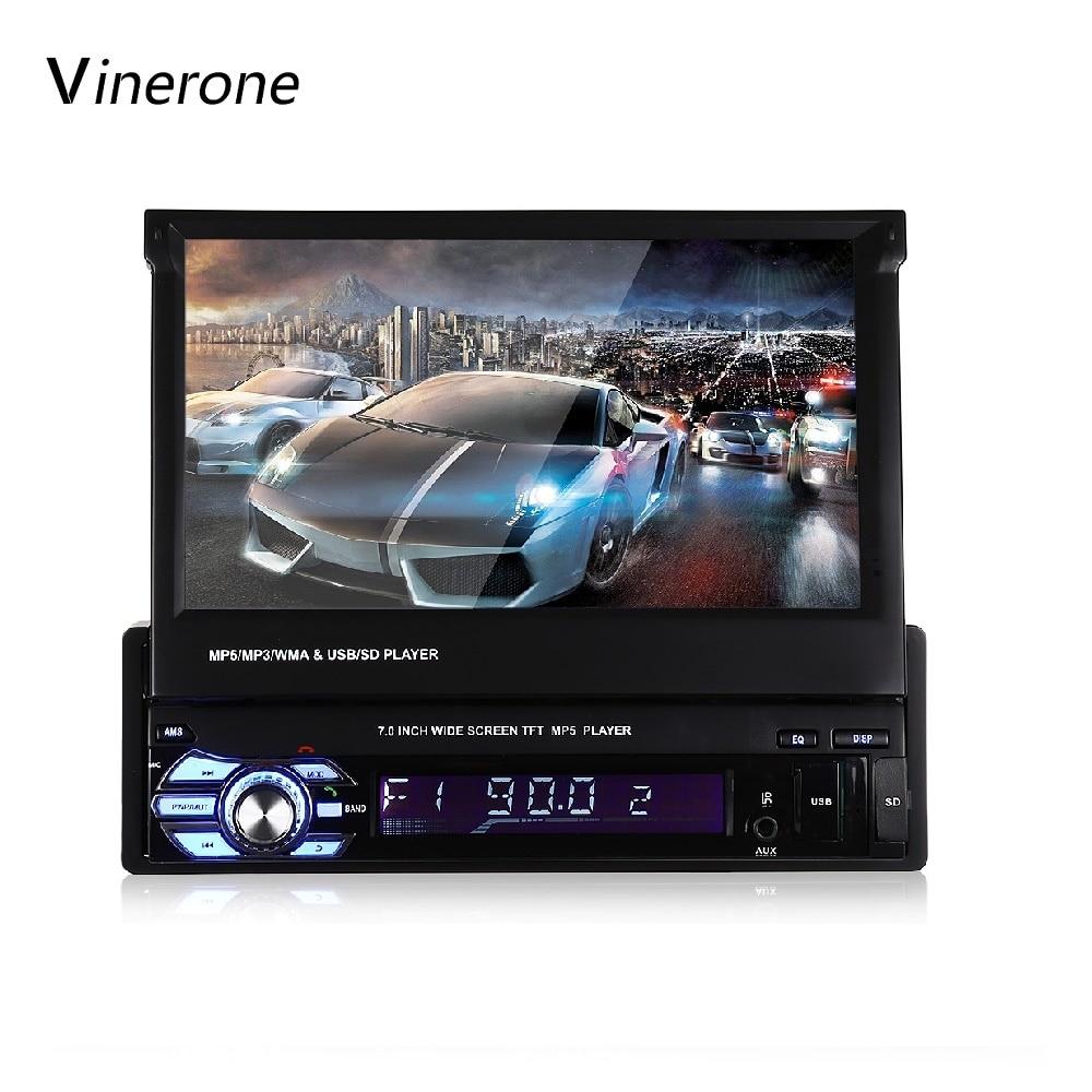 Autoradio 1 Din 7 ''pouces LCD ecran tactile Bluetooth AUX voiture Audio USB FM MP3 MP5 Auto Radio voiture lecteur multimédia Autoradio 1din
