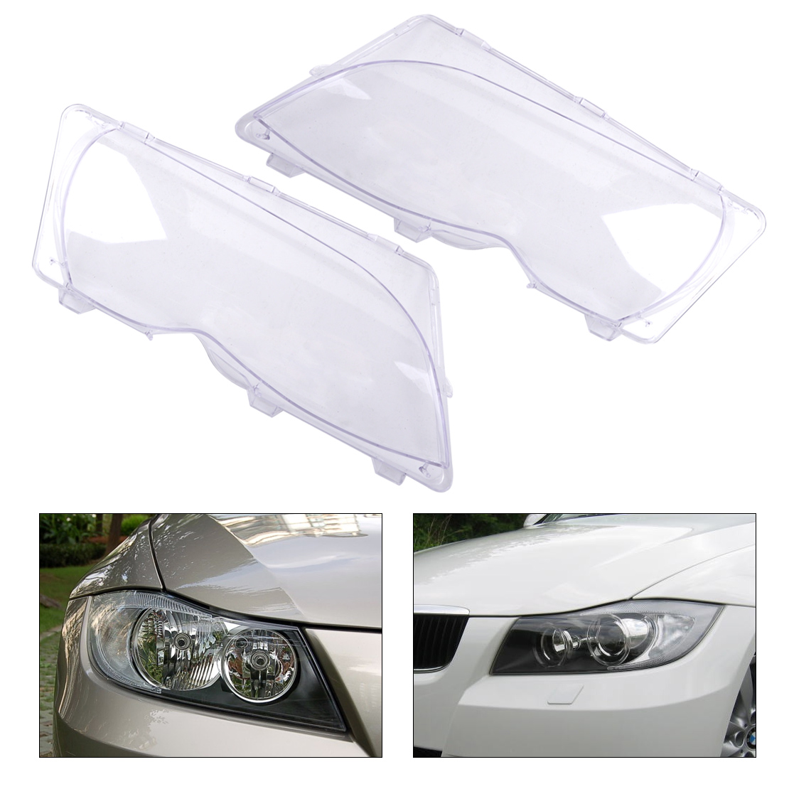 CITALL 63126924045 63126924046 2pcs Clear Headlight Lamp Lens Cover for BMW 3 Series E46 325i 325xi