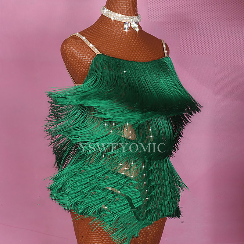 On Sale Girls Women Latin Dance Dress Double Layer Of Tassel Articulated Green Color Latin Dresses For Girls Competition