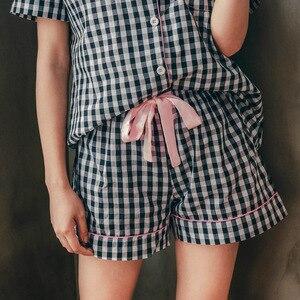 Image 2 - Womens Zomer Shirt Korte Mouw Korte Broek Pyjama Twee stuk Nachtkleding Katoen Plaid Losse Borstvoeding Pijama Vrouw Kleren