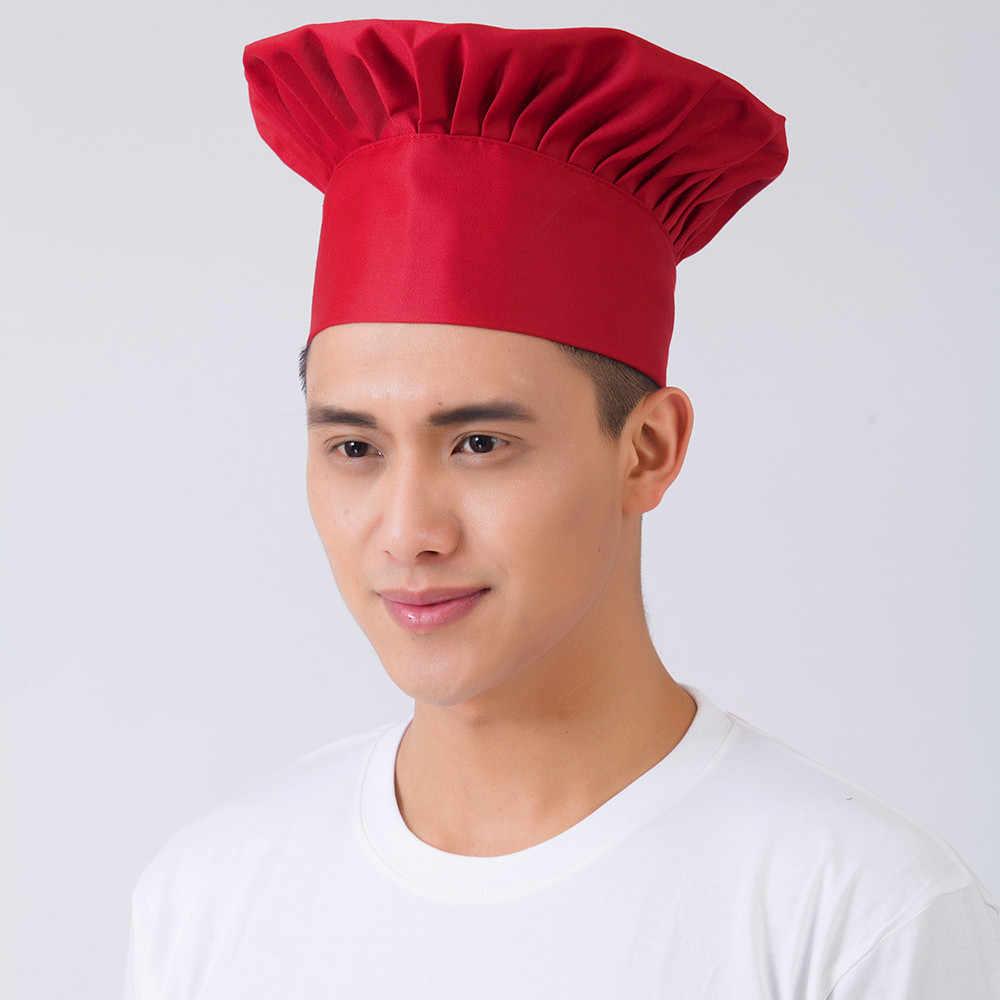 Мужские и женские колпак повара, кафе, ресторана, барбекю, кухни, повара, шапка повара, шляпа, ткань, плед, однотонный плоский головной убор, черный, красный, белый