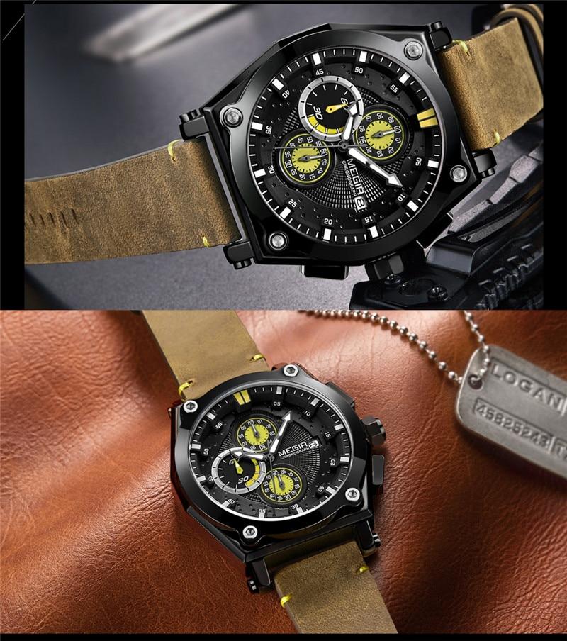 1532079803b Relogio Masculino MEGIR Men Watch Top Brand Luxury Gold Chronograph  Wristwatch Date Military Sport Leather Strap Male Clock 2098-in Quartz  Watches from ...