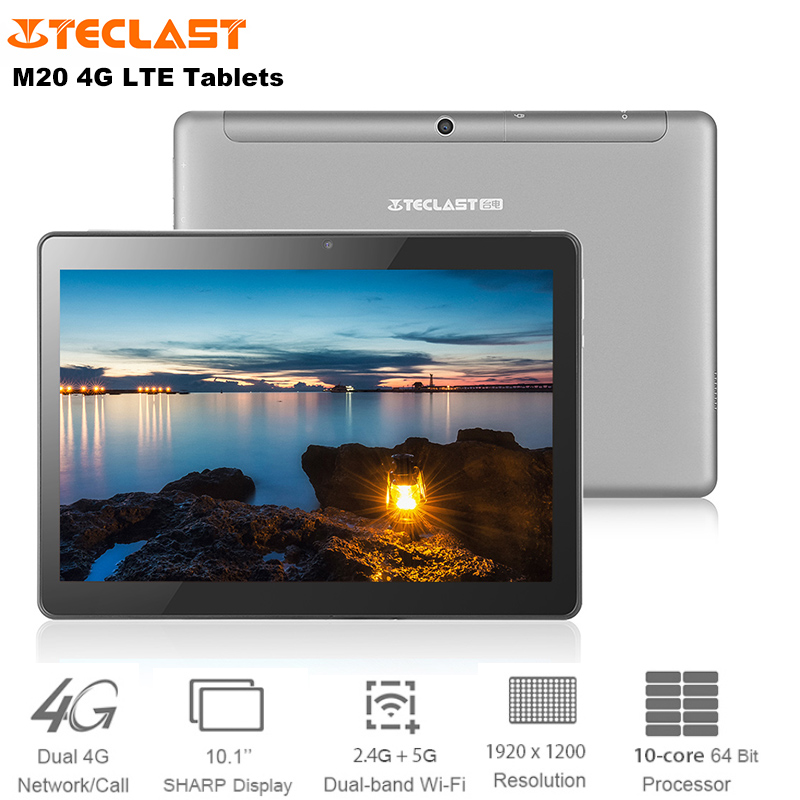 Teclast M20 4G LET Phone Call Tablet Android 8.0 10.1'' MTK6797 Deca Core 4GB+64GB Tablets PC Dual SIM Card 2.4/5G Wi Fi 6600mAh
