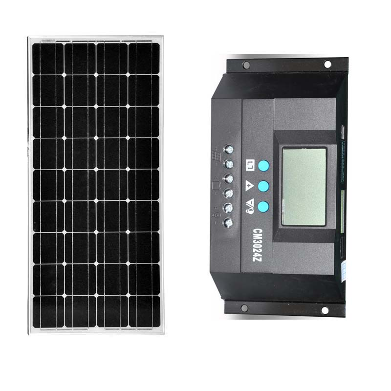 Cheap China Solar Panel 100W 12V 18V Solar Battery Charger With Controller PWM 30A  For Mini Home Off Grid System SFPM140 cheap china 300w off grid solar system 50w solar pane70wfor home led lamp battery 24ah solar regulator controller 10a sfps134