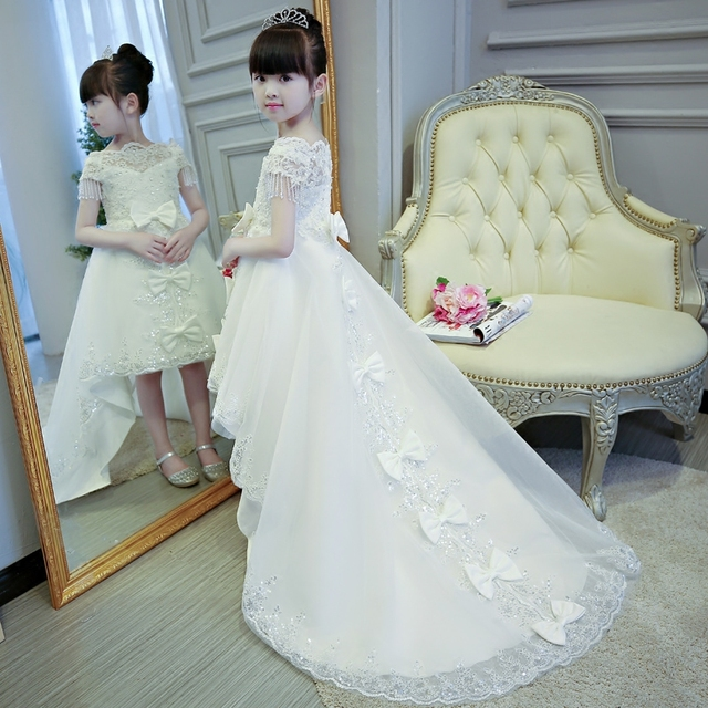 2019 Hot sales Girls Kids First Communion Prince Lace Dresses Sleeveless Ball Gown Court Train Girl Birthday Wedding Dresses