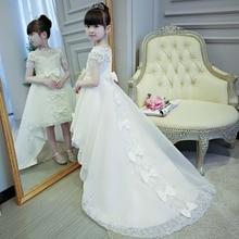 2019 חם מכירות בנות ילדים ראשית הקודש נסיך תחרה שמלות ללא שרוולים כדור שמלת משפט רכבת ילדה יום הולדת חתונה שמלות