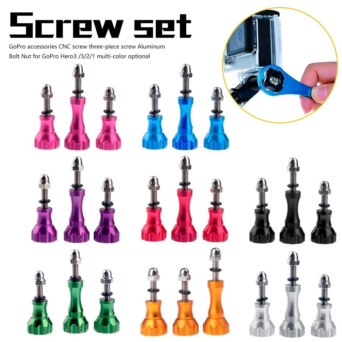 3 pcs for GoPro Hero3 /3/2/1 multi-color optional accessories CNC screw three-piece screw Aluminum Bolt Nut(China)