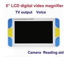 """5 """"จอแสดงผลLCD Low Visionแว่นขยายช่วยอ่านหนังสืออิเล็กทรอนิกส์,ดิจิตอลแว่นขยายแบบพกพา"""