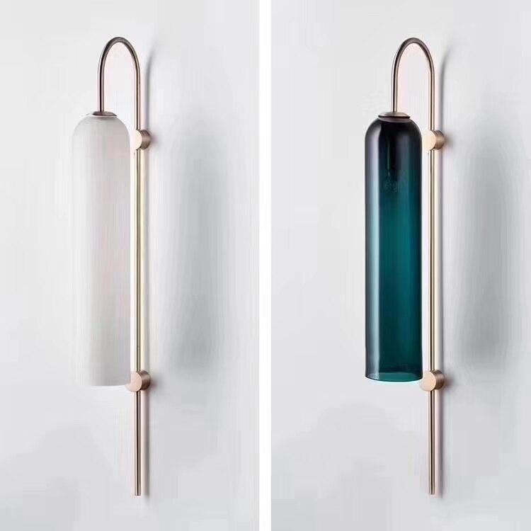 Led-lampen Post Moderne Blau/weiß Glas Lampenschirme Lustre Led Wand Lampe Platte Gold Metall E14 Leuchte Wand Scones Led Beleuchtung Lamparas Led-innenwandleuchten
