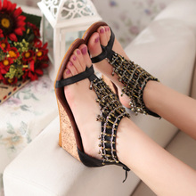 Black And Apricot Women's Summer Bohemia eaded Wedges Sandals Flip Flops Middle Heels T-strap Ladies Casual Comfortable Shoes