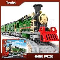 666pcs Creator Luxury Winter Holiday Trains Red Locomotive 25904 Model Building Blocks Bricks Railway Toys Compatible with Lego