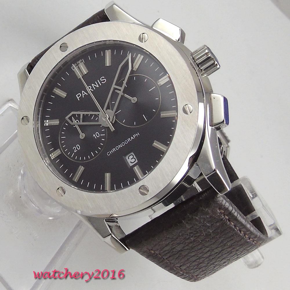 44mm Parnis Black Dial Chronograph Luxury Brand Complete Calendar SS Case Leather Valentines Romantic Quartz movement mens Watch