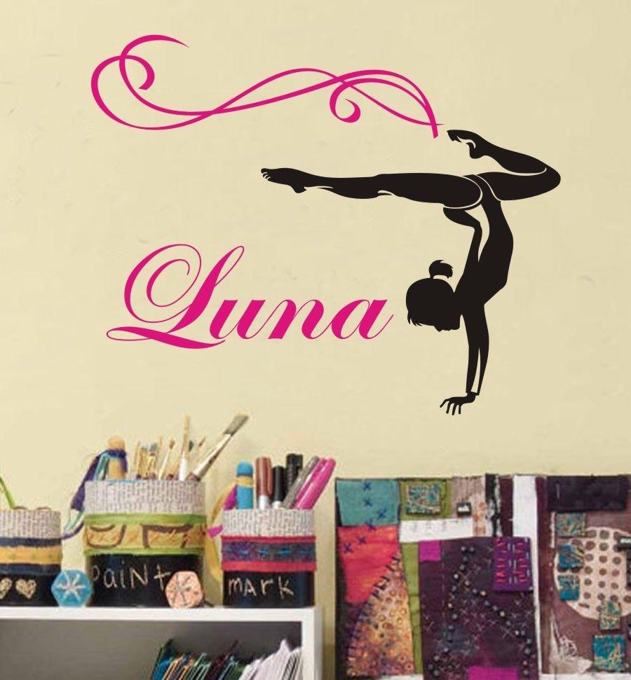 custom personalized name pattern gymnastics sports vinyl wall