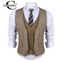COOFANDY New Arrivals Business Style Men V-Neck  Patchwork Slim Fit 4-Button Business Suit Vest US Size