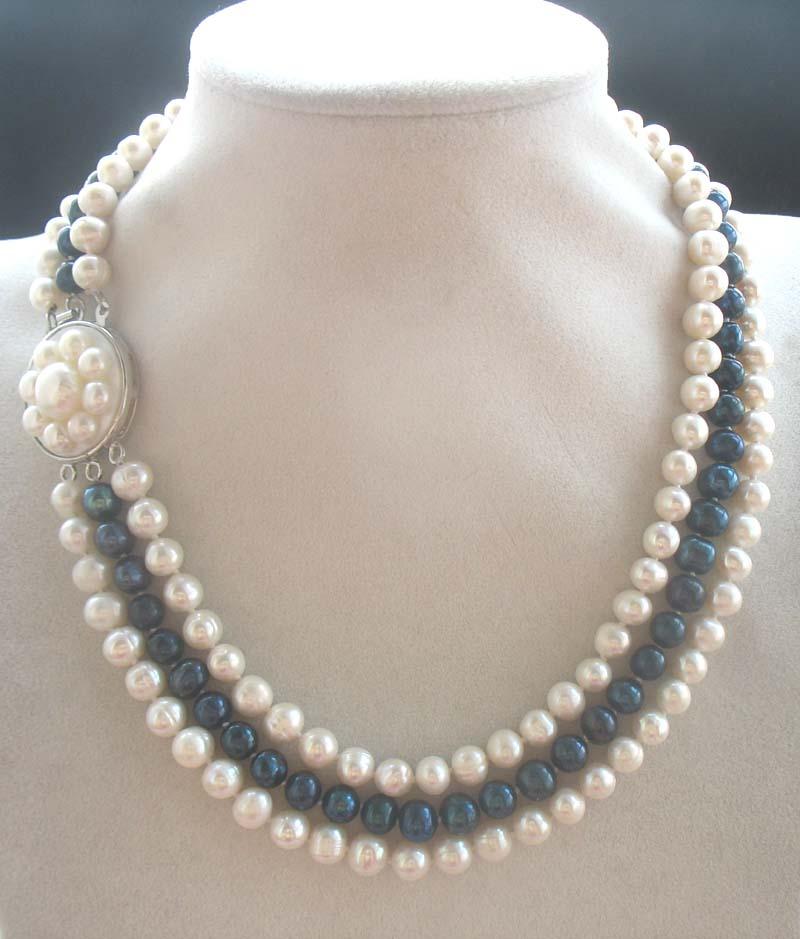 100% Wahr 3 Rows Süßwasserperle Weiß Schwarz Rund 7-8mm Halskette 18-20 Zoll Fppj Großhandel Perlen Natur