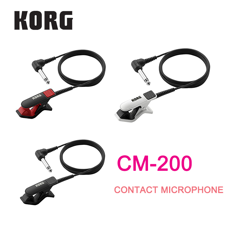 Korg CM-200 Clip-On Contact Microphone 1/4(Dia6.3mm) male phone connector and 5ft (1.5m) shield cable - White/Black/Red
