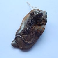 New Design Iron Tiger Handcarved Animal Lizard Natural Stone Pendant Necklace 79x41x25mm 68 4g Pendant Jewelry
