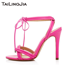 Pink Red Open Toe High Heel Ankle Strap Women Sandals Woman Shoes Party Wedding Plus Size Brand Ladies Wholesale