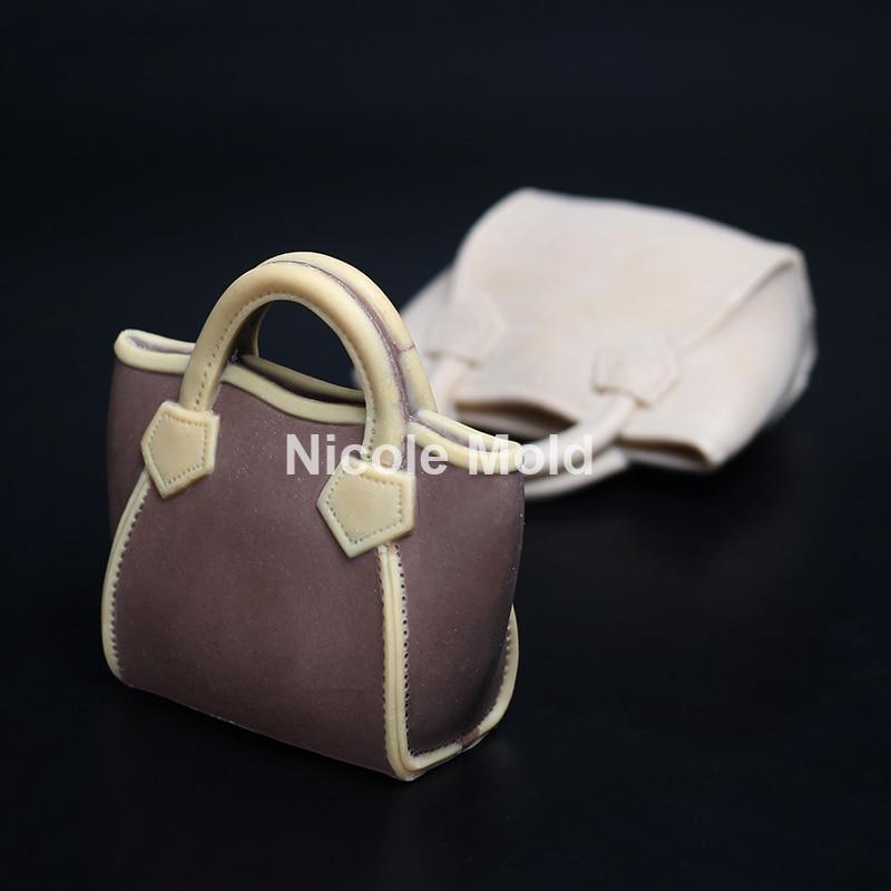 Utsökt lyxväska design silikon mögel fondant tårta dekoreringsverktyg harts lera hantverk handgjord choklad tvål ljus mögel