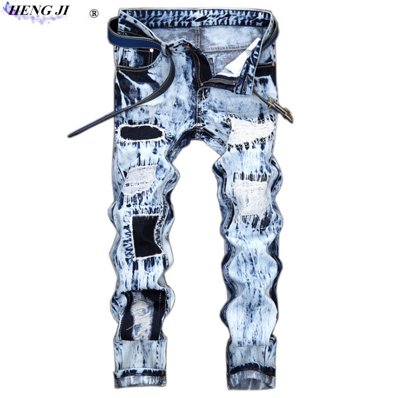 Male embroider straight leg jeans, repair,cat beard, do old,broken hole personality patch color jeans,high quality,free shipping