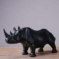 Modern Home Decor Black Rhino Statues Resin Decorations Home Decor Accessories Gifts Geometric Resin Sculpture