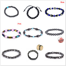 10 Style Fashion font b Slimming b font Weight Loss Round Black Stone Magnetic Therapy Bracelet