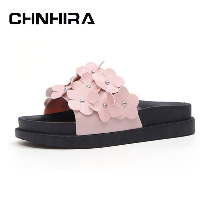CHNHIRA Summer Flowers Slippers 2017 New Flats Sandals Summer Beach Flip Flops Platform Shoes Woman Slip On Creepers#CH412 casual wedges sandals 2017 summer beach women shoes platform flip flops print sandal comfort creepers shoes woman
