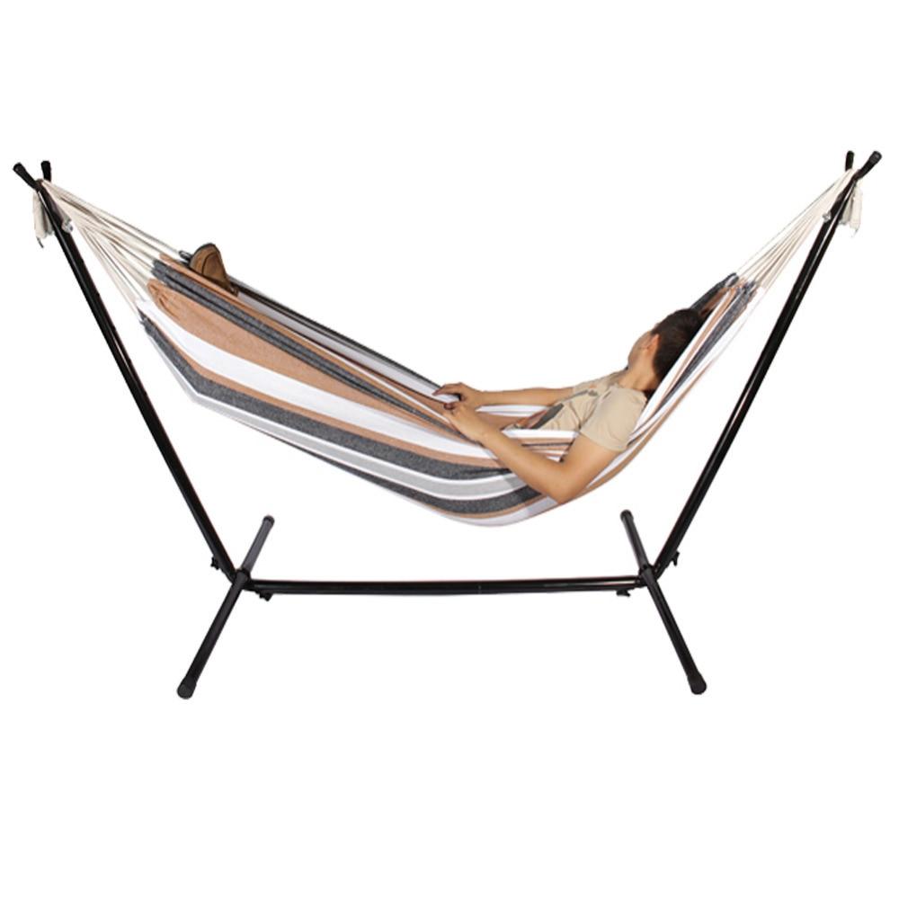 double h ngematte mit platzsparende stahl st nder umfasst tragetasche tragbare hamac f r garten. Black Bedroom Furniture Sets. Home Design Ideas