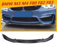 Углеродного волокна переднего бампера для губ тела комплект и губ сплиттер лоскут чашки спойлер для BMW M3 M4 F80 F82 F83 2014 2015 2016 2017 18