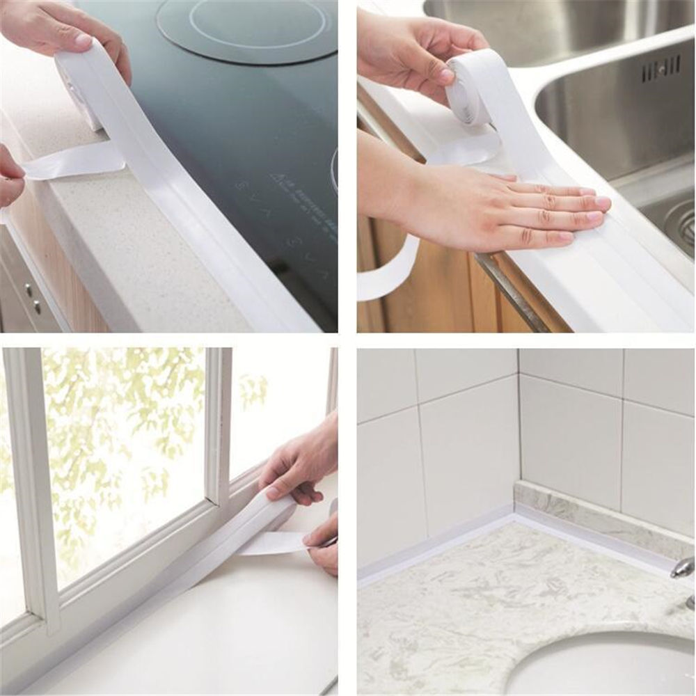 Self Adhesive Sink Waterproof Tape Kitchen Bathroom Shower Toilet Sealant White 2.2*320cm