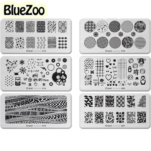 BlueZoo 36 unidades/pacote Multi-elemento Retangular Placa de Impressão Do Prego Acessórios de Beleza Prego Decalque Adesivo DIY Nail Art Ferramenta Maquiagem