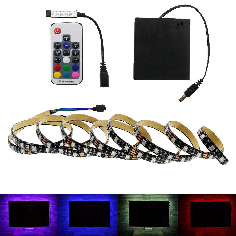 Batteri LED Strip 5050 RGB 5V Svart PCB Tape Lighting DIY Hem Dekorativ Lampa Med Batteri Box + 17Key RF Controller