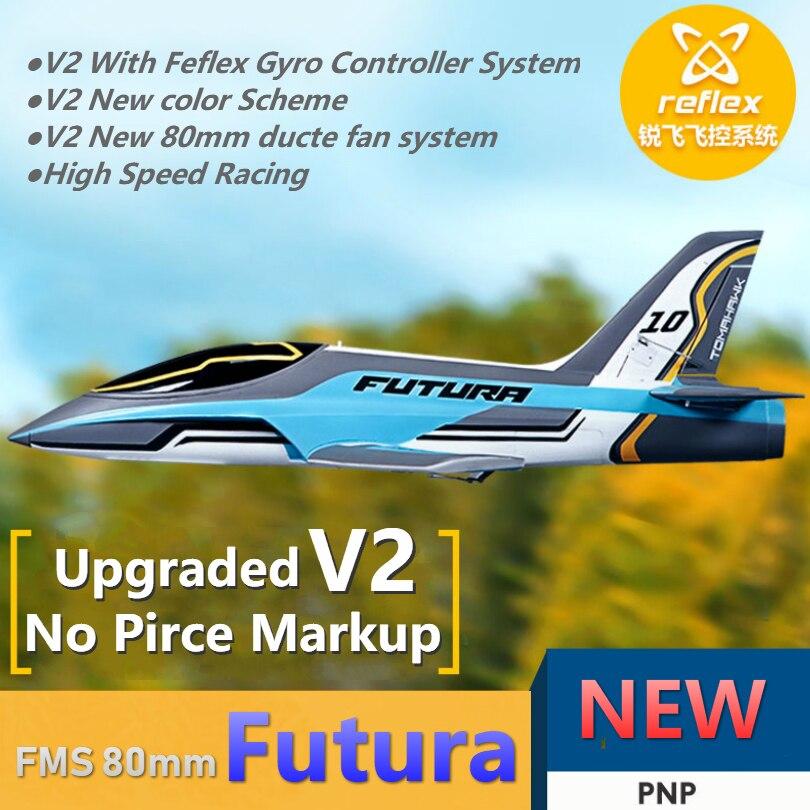 FMS RC avion avion 80mm Futura V2 ventilateur canalisé EDF Jet haute vitesse course 6S 6CH avec Reflex gyroscope oeb PNP modèle avion de loisir