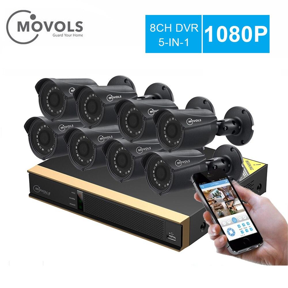 MOVOLS 1080 p kit CCTV 8 Caméra de Surveillance Extérieure Kit IR Caméra de Sécurité Vidéo Surveillance Système 8ch DVR Kits