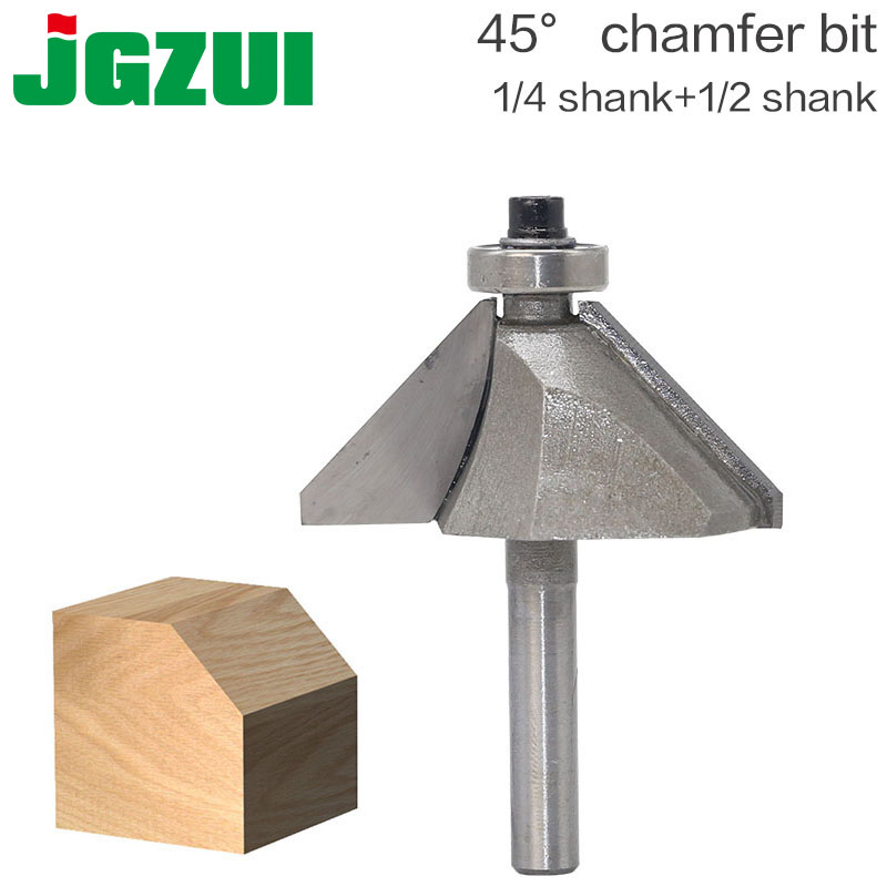 "1pcs 1/4"" 1/2"" Shank Chamfer Cutter Router Bits For Wood Horse Nose Bit 45 Deg CNC Woodworking Tools Two Flute Endmill"