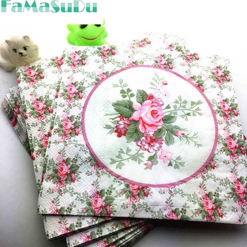 20pcs Table Napkins Paper Tissue Printed Flower Rose
