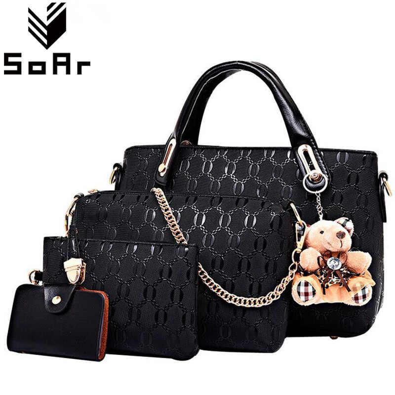 Women Bag Composite Bags Ladies Women Shoulder Messenger Bags Handbag Black Fashion  PU Leather Bolsa 3 75081474a9c0d