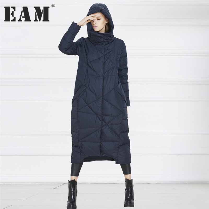 [EAM] 2017 new autumn winter solid color dark blue orange loose big size long warm coat women jacket fashion tide JA99417S napapijri guji check dark blue