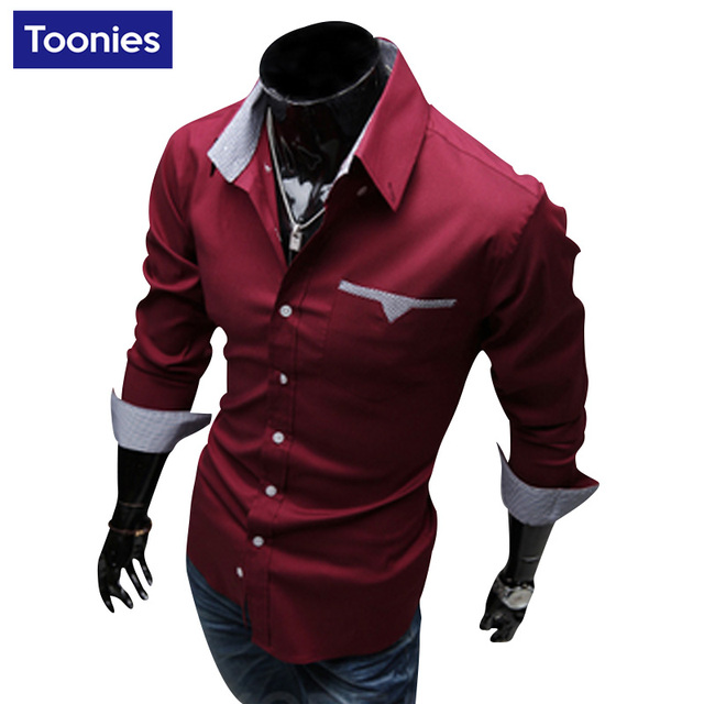 Мужчины Рубашка С Длинным Рукавом Мужская Clothing Рубашки Мужчин 3 Цвета Вскользь Slim Fit Camisa Хомбре Однобортный Abbigliamento Uomo Рубашка