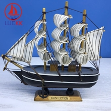 LUCKK 16CM Wooden Model Ships Black Home Interior Decoration Wood Crafts Room Loft Ornaments Vintage Nautical Creative