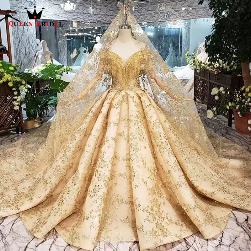 100% Real Photos Luxury Wedding Dresses Ball Gown Golded Fluffy Sequins Tulle Crystal Beading 2019 New Custom Made SK02
