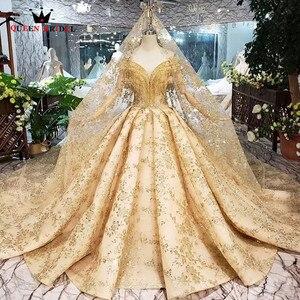Image 1 - 100% prawdziwe zdjęcia luksusowe suknie ślubne Ball suknia Golded puszyste cekiny Tulle kryształ frezowanie 2020 nowy Custom Made SK02
