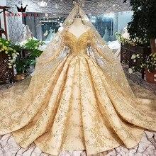 Robe de mariage luxueuse dorée, robe de bal, Tulle, duveteux, perle cristal, nouvelle photo 100%, sur mesure, SK02, 2020
