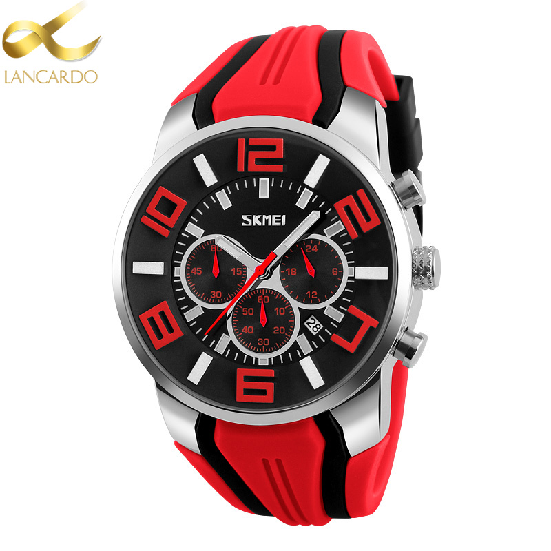 Lancardo Mens Watches Top Brand Luxury Quartz Watch Casual Silcone Red Brand Men Wrist Watch Date Male Clock Relogio Masculino new lancardo luxury brand men gold watches men quartz watch stainless steel men fashion casual wrist watch relogio masculino