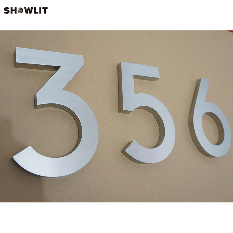 Sliver Color Brushed Stainless Steel Apartment Door Numbers Custom Available stainless steel metal address plaques letters and numbers custom available