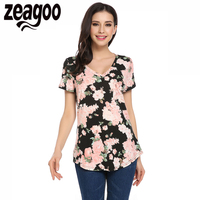 Zeagoo Summer T Shirt Women Casual V Neck Short Sleeve Floral Pocket Asymmetrical Hem Tees Tops